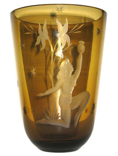 Kumela Finnish Art Deco Amber Glass Vase with Engraved Nude Figure.  Formed in Riihimäki, Finland in 1936, Kumela operated until 1976.