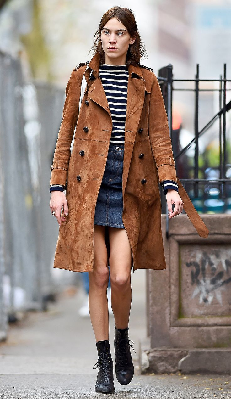 ALEXA CHUNG  not sure about the texture/color of the coat, but everything else = yes