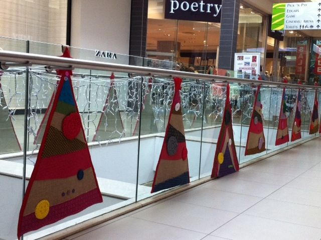 Shweshwe Patchwork Christmas Trees at Tyger Valley Centre in Cape Town