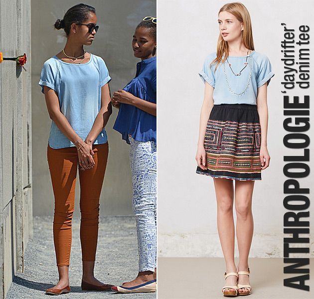 Malia Obama wearing an Anthropologie denim tee visits the Berlin Wall.