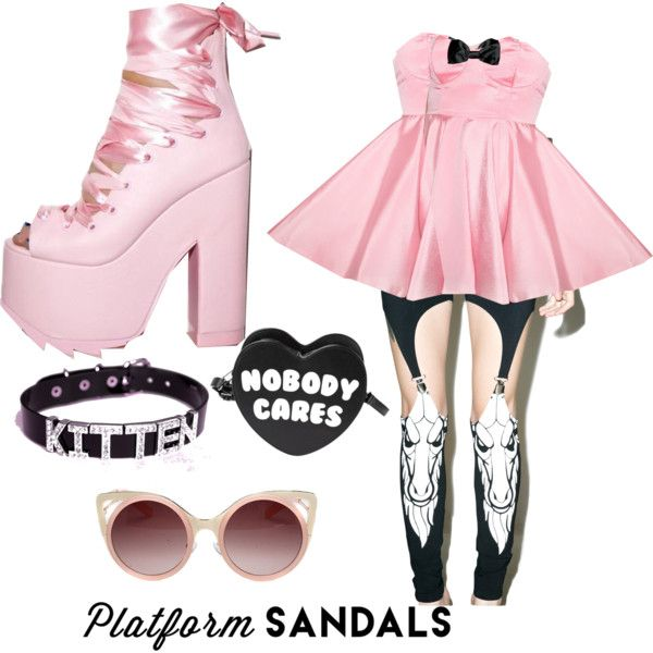 Pastel Goth Platform Sandals by wilczekalyssa on Polyvore featuring Fete Champetre, Killstar, Y.R.U. and WithChic
