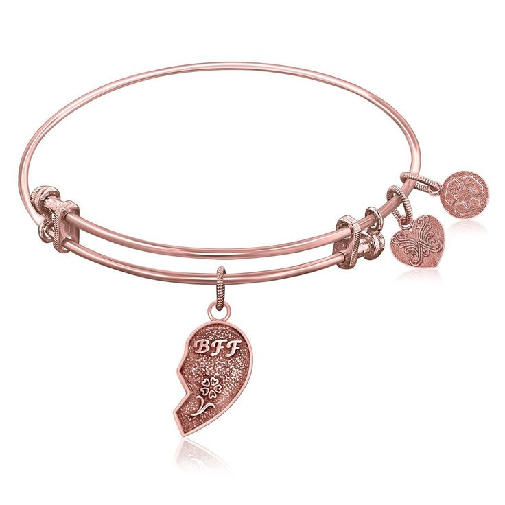 An expandable bangle in pink tone brass. Best friends share a relationship made without a lifetime guarantee, yet friendships last for a lifetime. A best friend