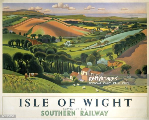 Poster produced by Southern Railway (SR) to promote rail and sea services to the Isle of Wight. The poster shows a panoramic view of green rolling hills, pastures and grazing animals with the sea in the distance. Artwork by Allinson. Picture number: POS/C001852 Description: SR poster. Isle of Wight by Allinson, 1946. Farmyard and fields with hills and sea in background. Printed by McCorquodale & Co Ltd, London. 1014 x 1262mm. Credit: National Railway Museum/Science & Society...