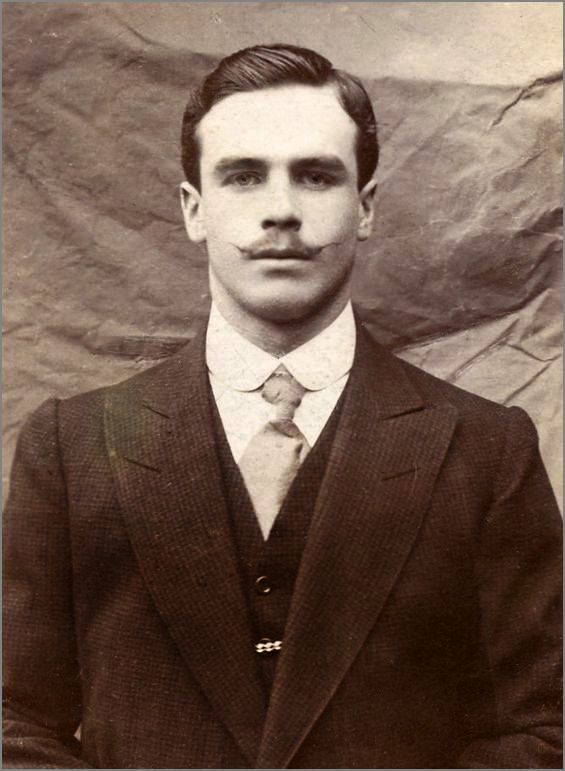 Handsome Mustached Man, Vintage Photo.