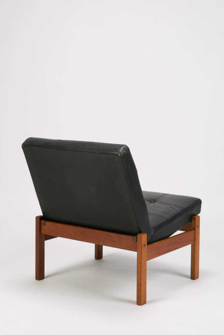 Yngve Ekström; Teak and Leather Lounge Chair for Swedese, 1960s.