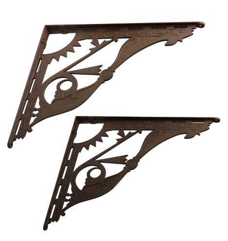 "Extremely Large 17.75"" Victorian Iron Brackets"