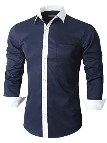 Nuova offerta in #abbigliamento : Emiqude Uomo Casual Slim Fit Tasca contrasto Coloree solido abito camicia a manica lunga XX-Large Blu marino a soli 25.49 EUR. Affrettati! hai tempo solo fino a 2016-09-20 23:34:00