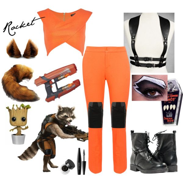 Rocket Racoon Costume by wonderland449 on Polyvore featuring polyvore, fashion, style, River Island, Lauren Ralph Lauren, Kookaï, Paolo Shoes, Napoleon Perdis and MAKE UP FOR EVER