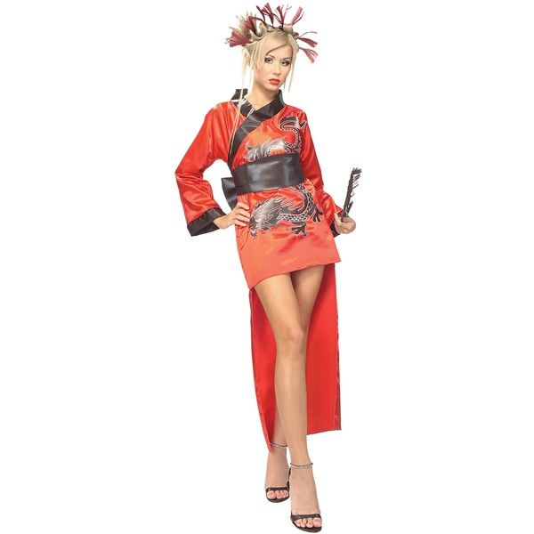 Adult Dragon Lady Geisha Costume ($29) ❤ liked on Polyvore featuring costumes, halloween costumes, dragon costume, sexy womens halloween costumes, adult women halloween costumes, sexy adult halloween costumes and holiday costumes