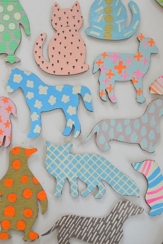 Templates for cardboard animals ~ great way to recycle & fun for kids pretend play.
