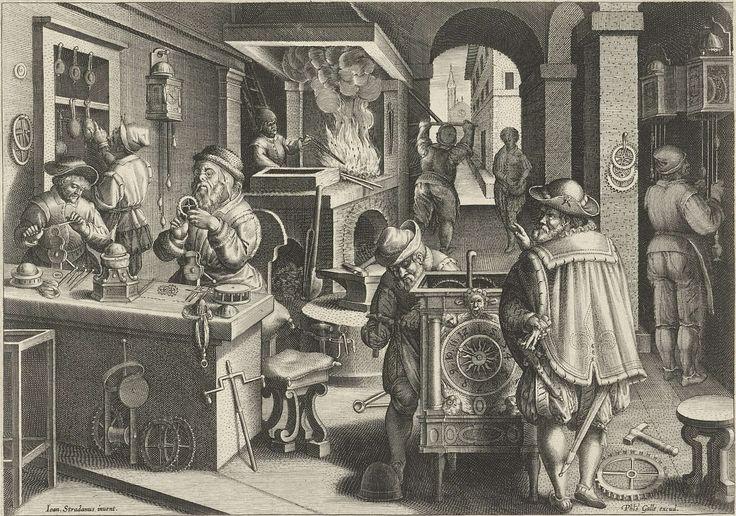 Philips Galle | Klokkenmakers, Philips Galle, c. 1589 - c. 1593 | Werkplaats waar uurwerken worden vervaardigd. Links twee klokkenmakers bezig aan een werkbank met het raderwerk. Middenvoor een klok met wijzerplaat. Op de achtergrond links wordt een oven gestookt; rechts hangen klokken aan de wand. De prent maakt deel uit van een negentiendelige serie over nieuwe uitvindingen en ontdekkingen. Afgeknipt exemplaar.