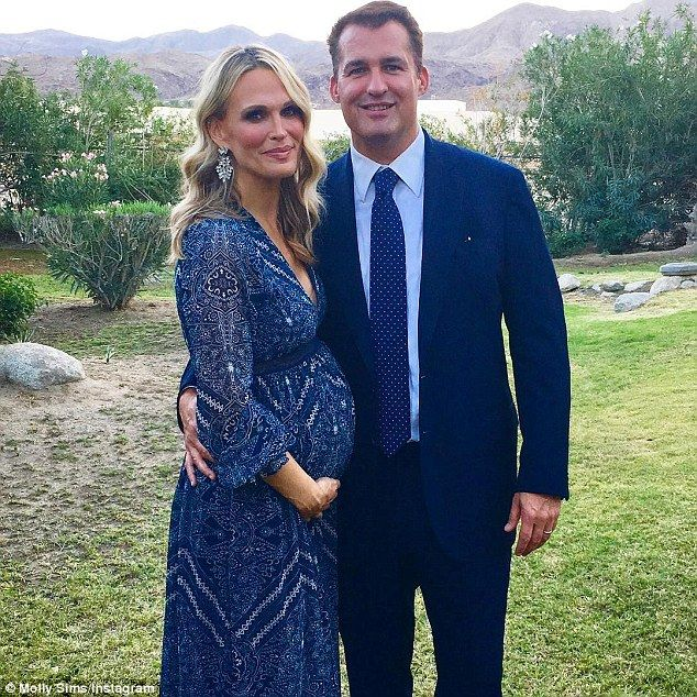 Glowing: On Saturday, Molly Sims, 43, was radiant in a flowing, blue gown as she attended ...