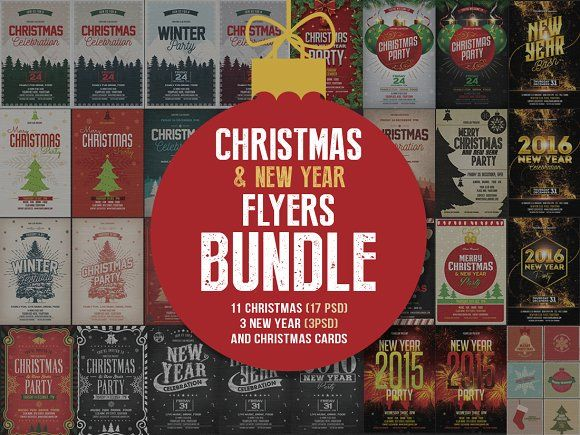 Christmas & New Year Flyers Bundle by DesignWorkz on @creativemarket