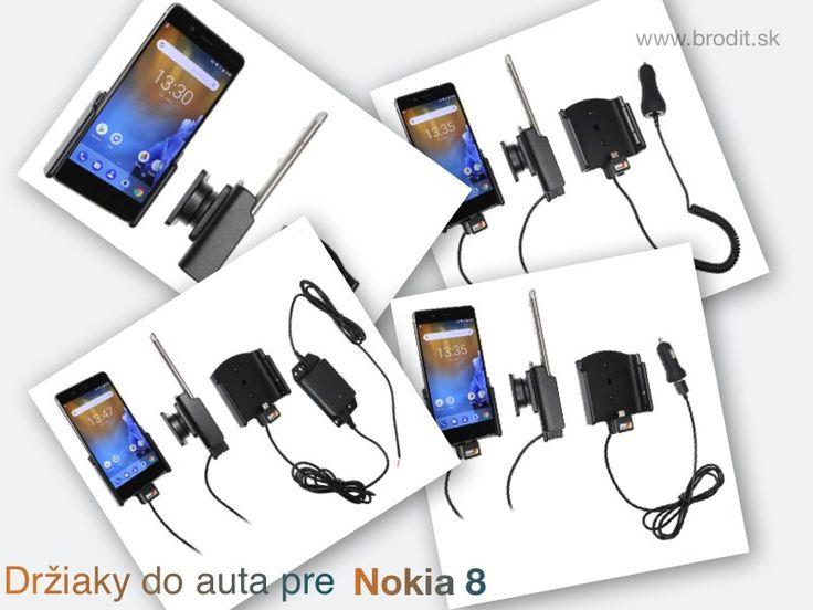 Nové držiaky do auta pre Nokia 8. Pasívny držiak Brodit pre pevnú montáž v aute, aktívny s CL nabíjačkou, s USB alebo s Molex konektorom.