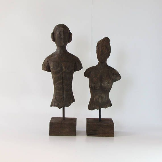 Wood sculptureFigurineCouple Bust.Set of 2.distressed