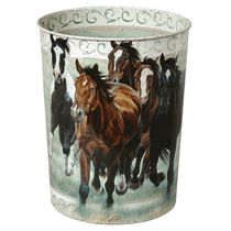 Running Horses Tin Waste Basket