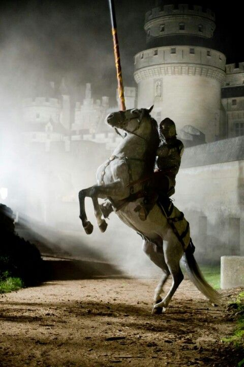Horse, hest, knight, castle, animal, beast, human, male, man, shining armor, rustning, mystical, history, photograph, photo.