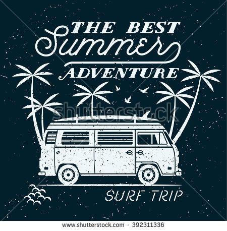 Vector Summer surfing retro badge. Beach surfer emblem , outdoors banner, vintage background. Boards, retro car. Surf icon design. For summer surf Logotype, label, party brochure.