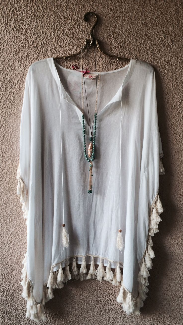 Surf gypsy fringe oversized resort bohemian coverup / Bohemian Angel