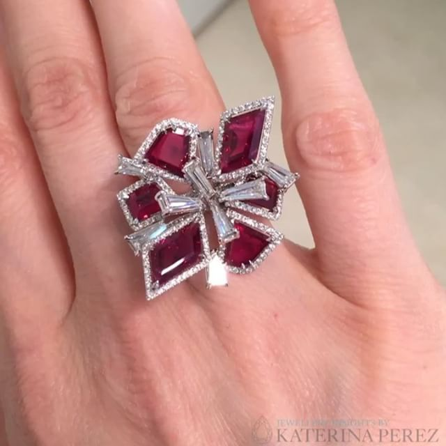 """FaiDee Gems. Via KATERINA PEREZ (@katerina_perez) on Instagram: """"Hot trend of #baselworld2017 is geometry in jewellery forms. Here is one example of it- ruby and diamond ring by FaiDee Gems."""