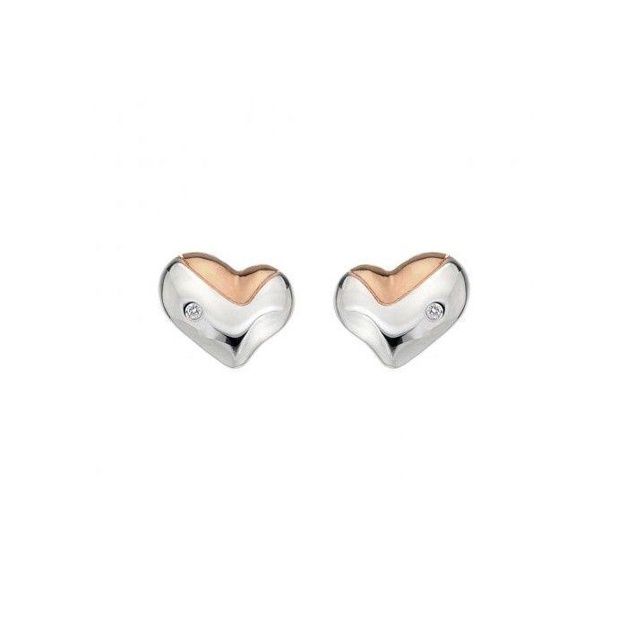 Hot Diamonds Women's 925 Sterling Silver Diamond Twist Pearl Stud Earrings KY5n0