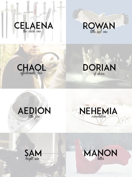 "captainwcstfall: ""Throne of Glass Series by Sarah J. Maas - Name Meanings """