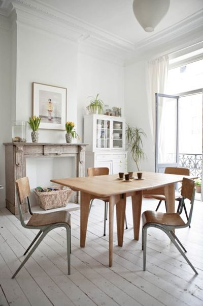 white wood floors: Dining Rooms, Interior, Idea, Chairs, Living Room, Diningroom, House, Space, Design