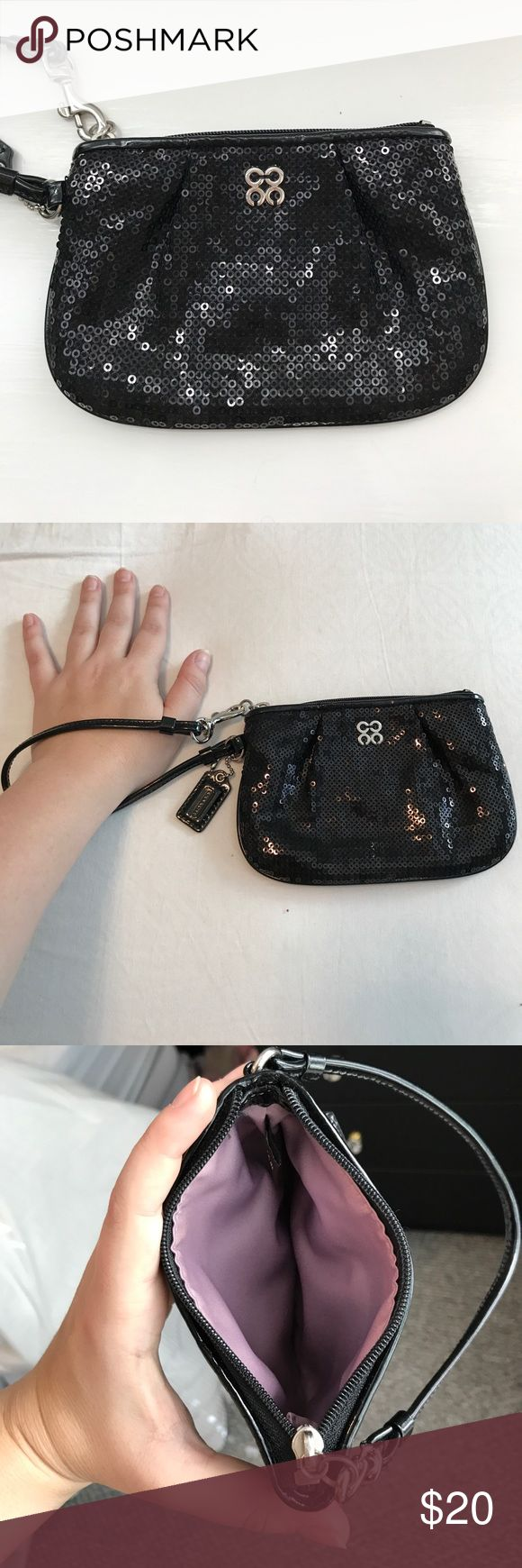 Black Sequin Coach Wristlet Never used black sequin Coach wristlet with purple satin lining. Coach Bags Clutches & Wristlets
