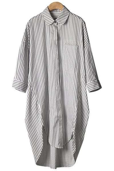 Stripe Asymmetrical Half Sleeve Shirt