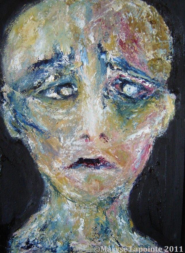 Portrait bleu #2 16½ x 12½ po. (41 x 31 cm) Huile/papier 450$