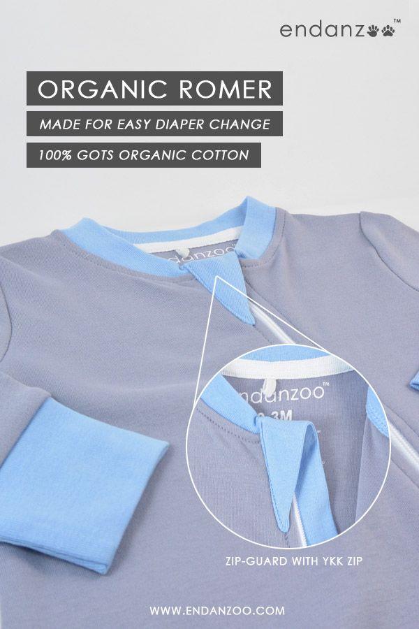 Endanzoo Organic Romper made for easy diaper change. 100% Organic Cotton.   #EndangeredSpecies #OrganicRomper #Newborn #OrganicClothing
