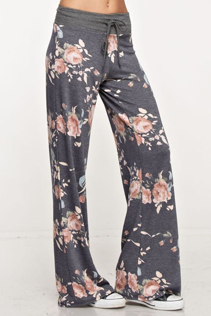 """- 95% Polyester/5%Spandex - Machine Wash - Comfy and Soft Floral Print Pajama Pants - Adustable Drawstring Waistband for Added Comfort - 31"""" Inseam and Wide Leg Bottom - Perfect for Sleeping or Loungi"""