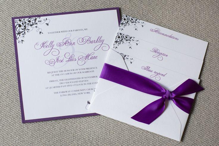 Faire part mariage violet