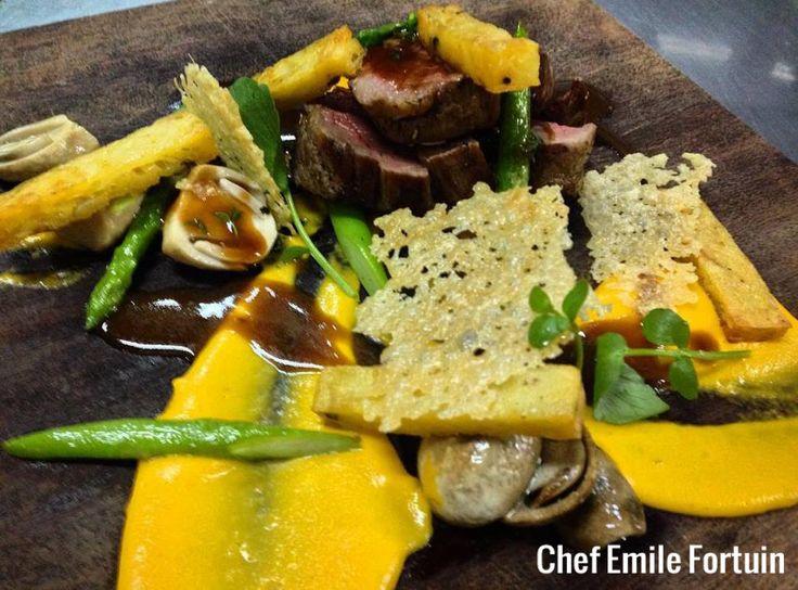Delicious rare roasted beef tenderloin, potato rosti, garlic fried mushrooms, steamed asparagus, crispy Parmesan and rosemary! #chefstalk #gourmet #foodstyle #foodart #recipes #designculinaire #plating