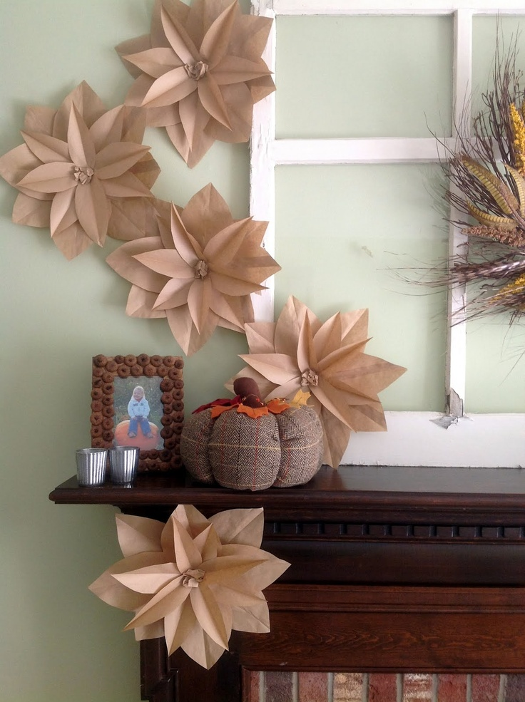 brown paper bag | Home Made Modern: Fall Mantel with Brown Paper Bag Flowers