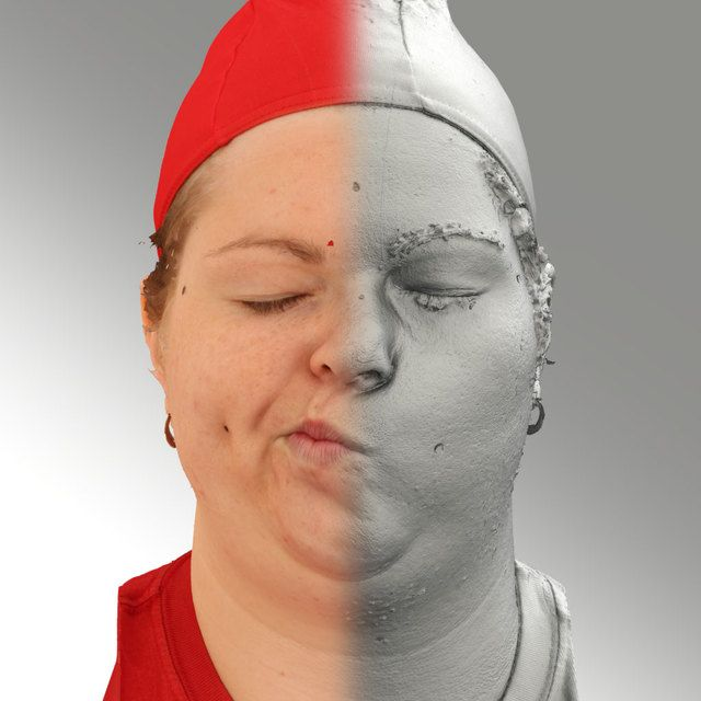 3D Head Scan Of Sneer Emotion Right   Misa