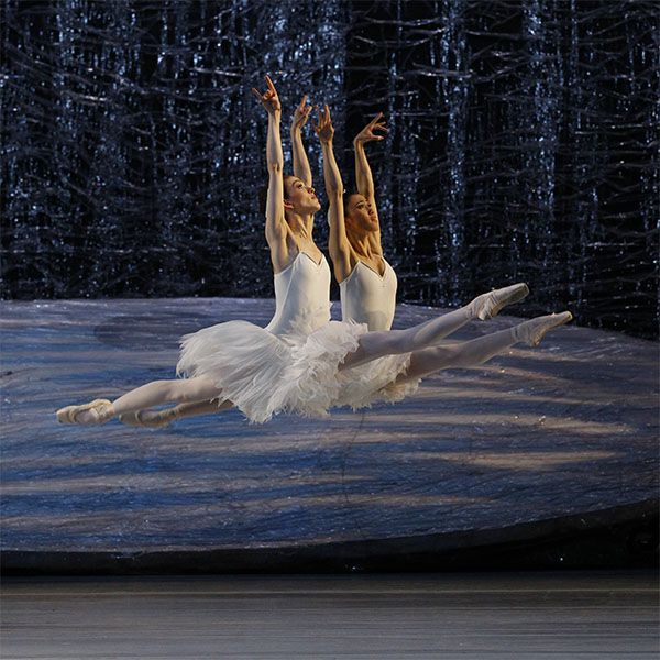 Juliet Burnett and Ako Kondo as the Guardian Swans. Photography Jeff Busby
