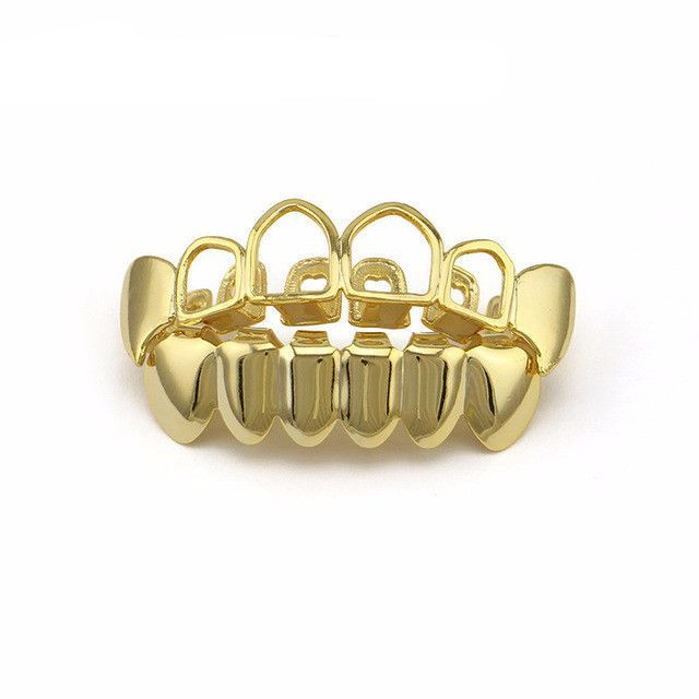 [FULL SET] GOLD HOLLOW VAMPIRE FANGS GRILLZ