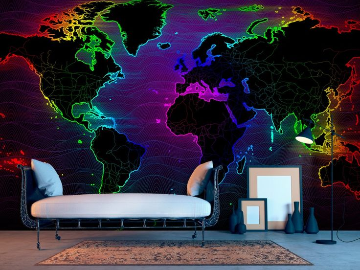 Mapa świata w oryginalnej odsłonie! Intensywne kolory fototapety spodobają się fanom odważnych aranacji :) #fototapety #fototapeta #mapaświata #kolorowamapa #odważnadekoracja #oryginalnearanżacje #nowoczene #hipster #artgeist