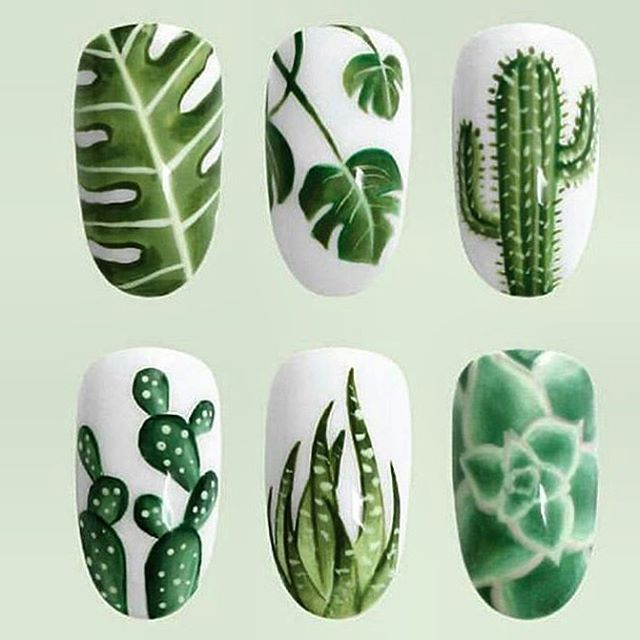"cunntclaws: "" Go green detailing of plant life w: /popcoat/ ✨✨ "" Cactus NOTW inspiration!"