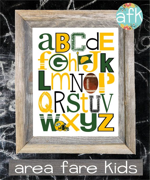 Green Bay Packers ABC nursery art print from Area Fare Kids Football Collection. ... https://www.etsy.com/listing/125648838/green-bay-packers-football-abc-nursery