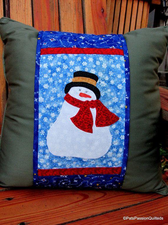 Quilted Pillow Wrap Snowman Applique Applique Pillows