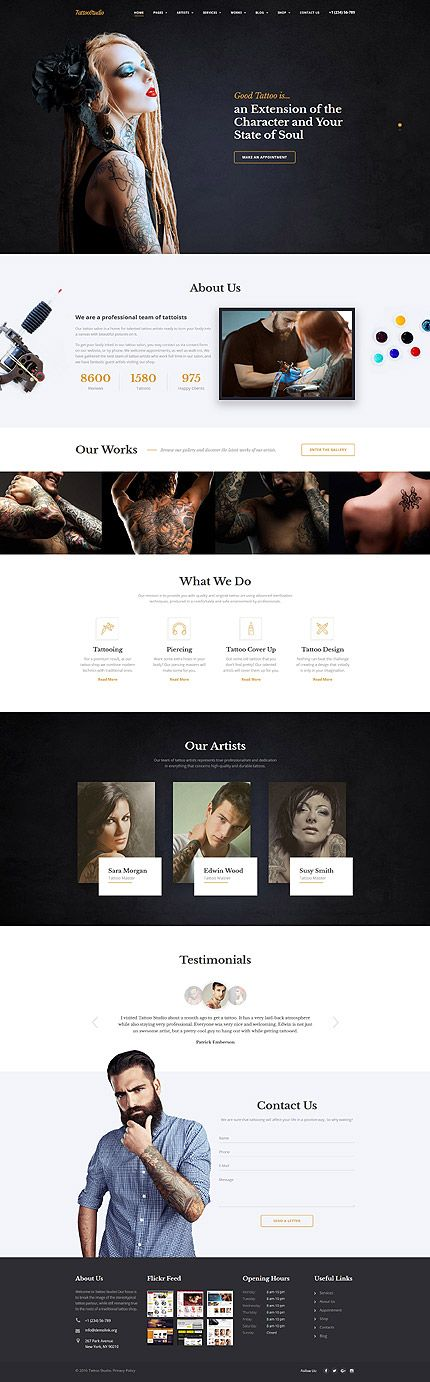 Tattoo Studio #website #template. #themes #business #responsive #websitethemes