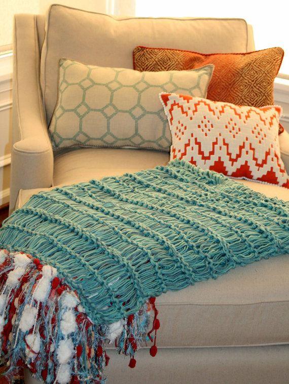 Turquoise, Red Throw Blanket with Ivory, Cream, Gold, Aqua Blue Medium Length Fringe. Interior Design Summer Home Decor Accent