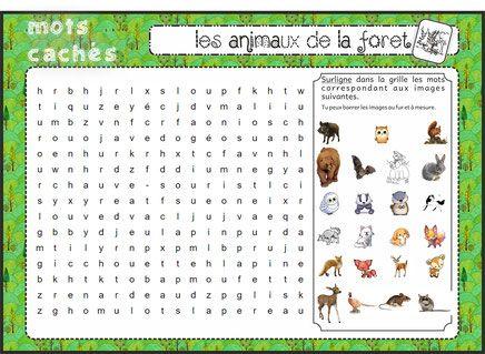 mots cachés/mêlés sur les animaux de la forêt