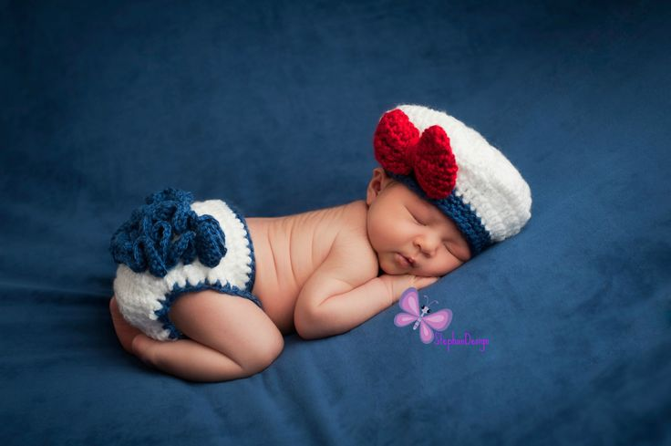 Nautical Sailor Set Newborn Photo Prop Baby Sailor Set Crochet Navy Sailor Hat and diaper Crochet Sailor Set Nautical baby girl sailor by StephanDesign on Etsy