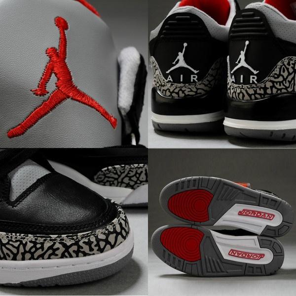 Women Air Jordan 3 Retro Black Cement Grey ❤ liked on Polyvore