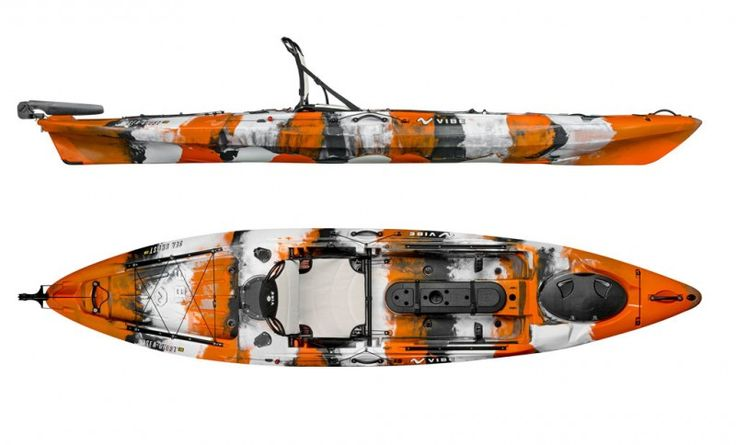 """Vibe Kayaks """"Sea Ghost"""" 130 Kayak with its extra wide hull offers unmatched stability for anglers. From flat to surf to small water, the Sea Ghost 130 has all the features anglers demand like extra rod holders, large rear tank well, foot controlled rudder system, easy to reach front and rear hatches, and a center console for additional storage with a lid to mount additional equipment. The Sea Ghost 130 tracks extremely well, is very stable, and with the included rudder, you will sav..."""