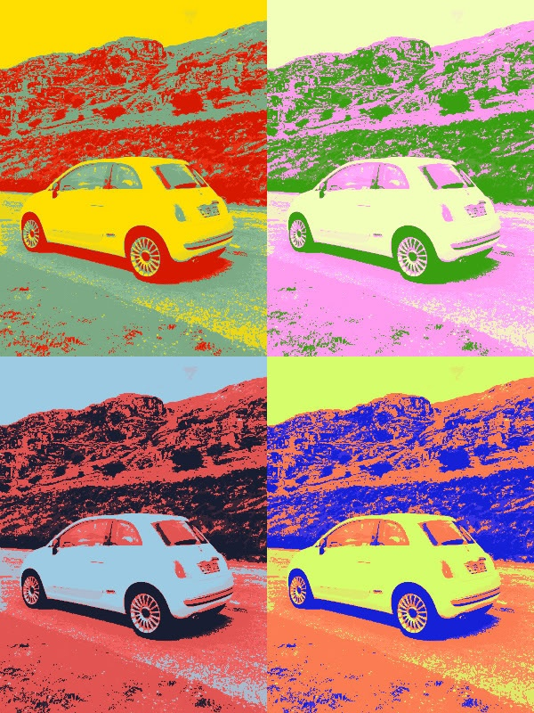 Pop art Fiat 500 style! Just take your photo and upload it in TUXPI (google it) and away you go!