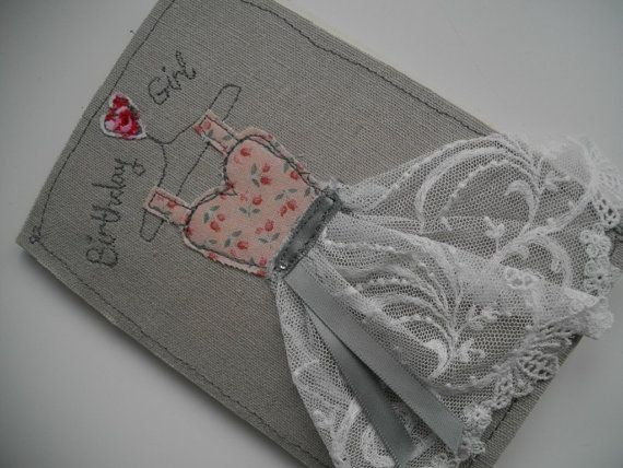 Handmade Machine Embroidered Ladies Birthday Card with pretty antique lace on Etsy, $8.35